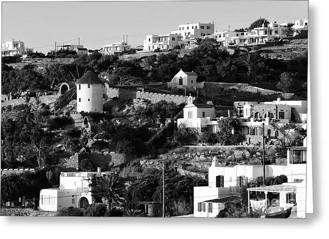 The Hills Greeting Cards - Along the Hills in Mykonos mono Greeting Card by John Rizzuto