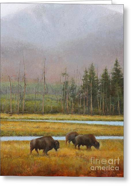 Bison Paintings Greeting Cards - Along the Madison Greeting Card by Lori  McNee