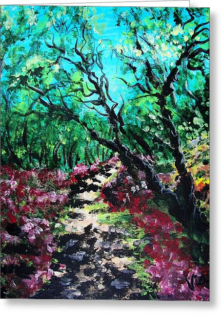 Judy Via-wolff Greeting Cards - Along the Path Greeting Card by Judy Via-Wolff