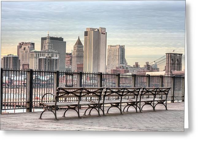 Brooklyn Promenade Greeting Cards - Along the Promenade  Greeting Card by JC Findley