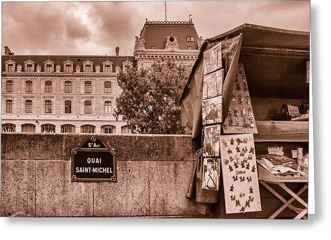 5th Avenue Place Greeting Cards - Along the Quai Saint Michel Toned Greeting Card by Nomad Art And  Design