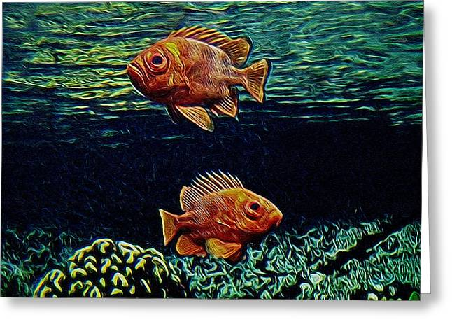 Sea Life Digital Greeting Cards - Along the Reef Digital Art Greeting Card by Ernie Echols