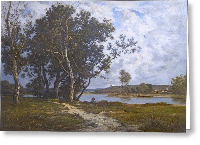 Restoration Greeting Cards - Along The River - Barbizon 1880s Greeting Card by David Lloyd Glover