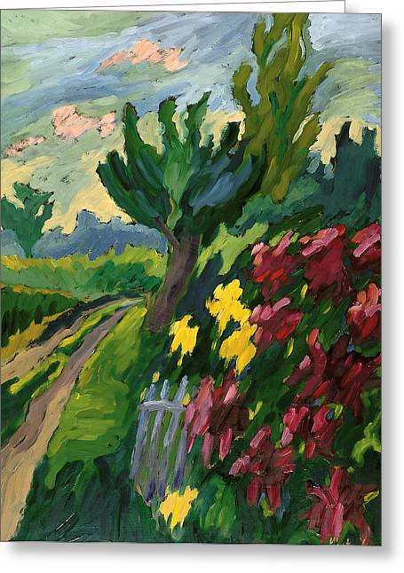 Path Greeting Cards - Along The Road Oil On Board Greeting Card by Marta Martonfi-Benke