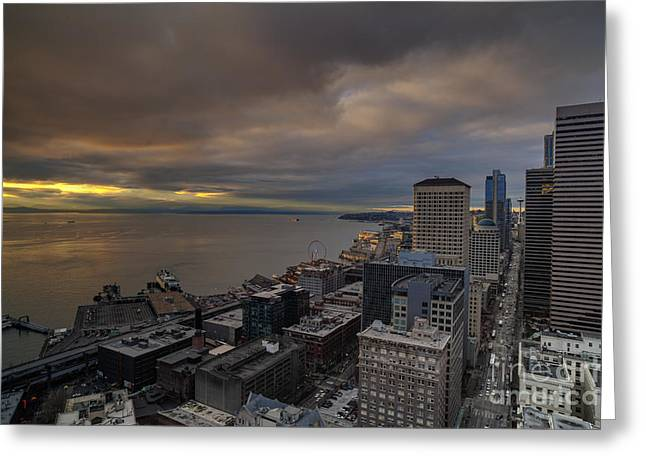 Along The Seattle Waterfront Greeting Card by Mike Reid