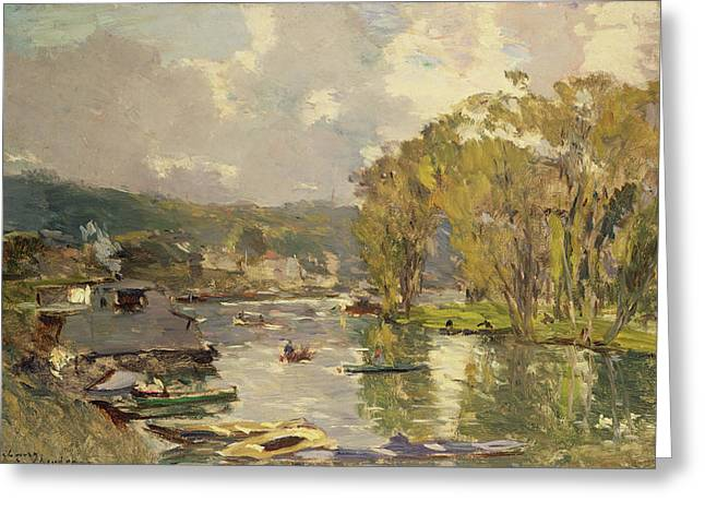 Charles River Paintings Greeting Cards - Along the Seine at Meudon Greeting Card by Albert Charles Lebourg