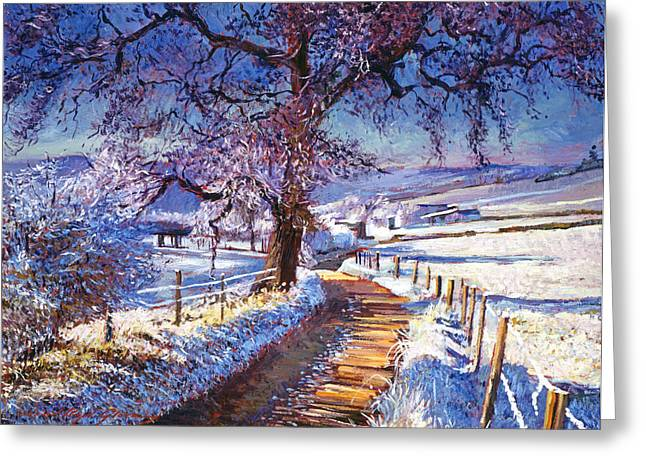 Americana Paintings Greeting Cards - Along The Snow Lined Road Greeting Card by David Lloyd Glover