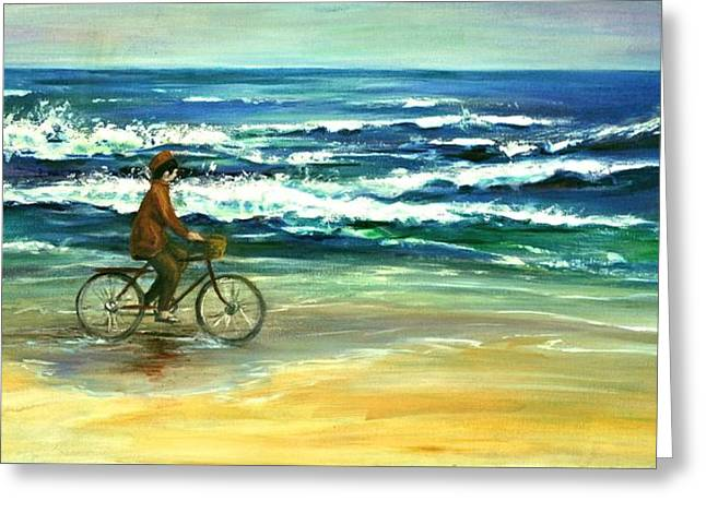 Reflection In Water Mixed Media Greeting Cards - Along the Surf Greeting Card by Csilla Florida
