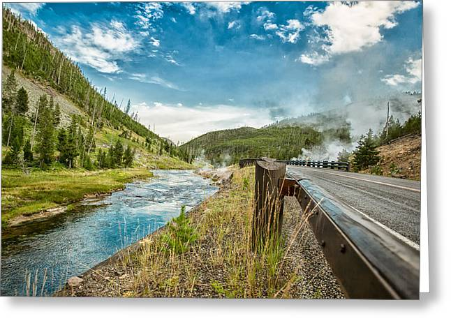 Horizon Greeting Cards - Along the Volcanic Yellowstone Road Greeting Card by Andres Leon