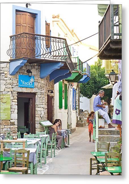 European Restaurant Greeting Cards - Alonissos Old Village Greeting Card by Tom Gowanlock