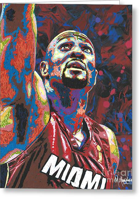 Alonzo Mourning Greeting Card by Maria Arango