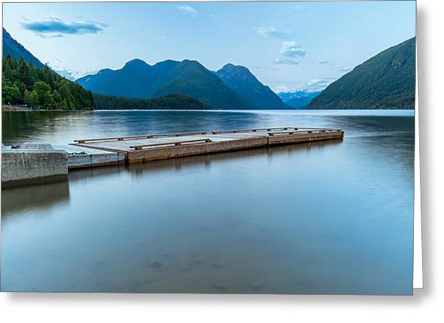 Mountain Reflection Lake Summit Mirror Greeting Cards - Alouette Lake Dock Greeting Card by James Wheeler