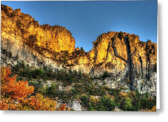 Pendleton County Greeting Cards - Alpenglow at Days End Seneca Rocks - Seneca Rocks National Recreation Area WV Autumn Early Evening Greeting Card by Michael Mazaika