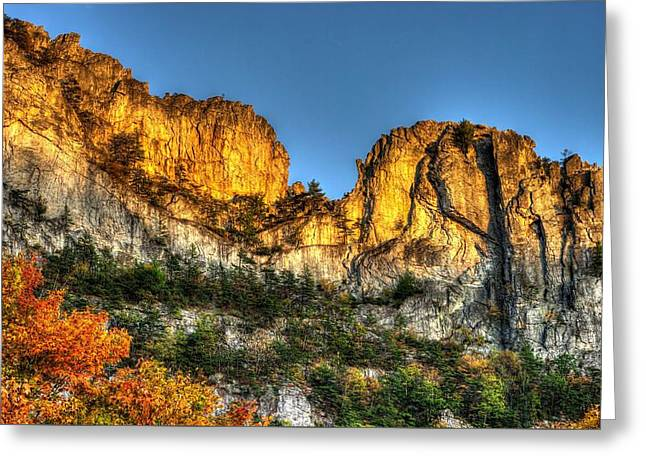West Fork Greeting Cards - Alpenglow at Days End Seneca Rocks - Seneca Rocks National Recreation Area WV Autumn Early Evening Greeting Card by Michael Mazaika