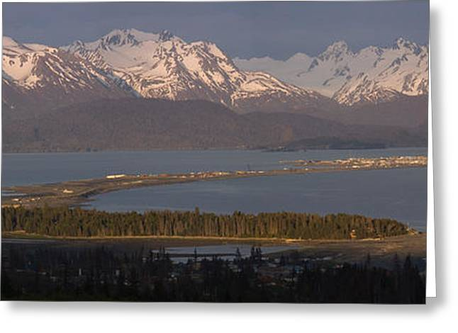 Beautiful Scenery Greeting Cards - Alpenglow Light On Homer Spit & Kenai Greeting Card by Scott Dickerson