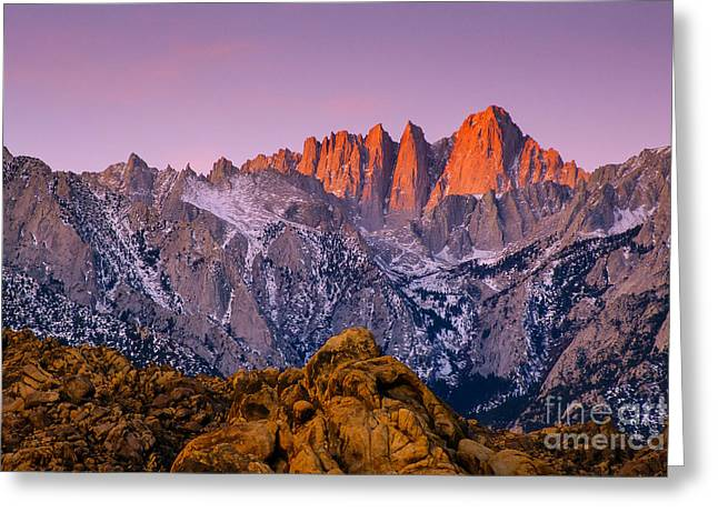 Recently Sold -  - Snow Scene Landscape Greeting Cards - Alpenglow on Mount Whitney Greeting Card by Lidija Kamansky