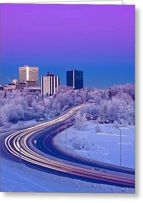 Scenic Drive Greeting Cards - Alpenglow Over The Anchorage Skyline Greeting Card by Kevin Smith
