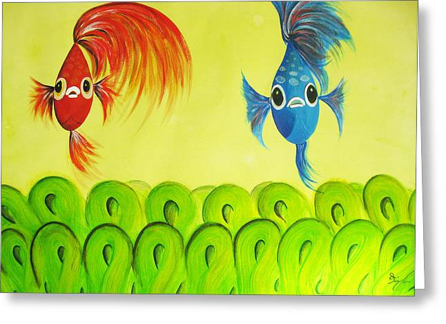 Betta Paintings Greeting Cards - Alpha and Beta Greeting Card by Oiyee  At Oystudio