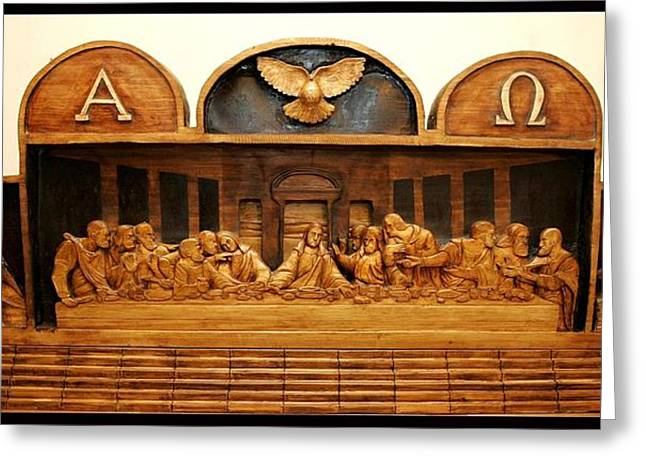 Woodworking Reliefs Greeting Cards - Alpha And Omega Greeting Card by Michael Pasko