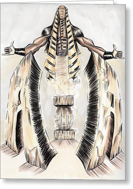 Pharaoh Mixed Media Greeting Cards - Alpha Pharaoh  Greeting Card by Tu-Kwon Thomas