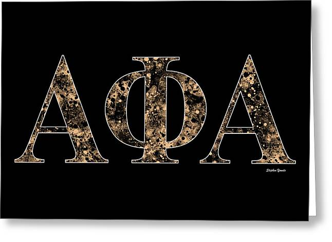 Phi Greeting Cards - Alpha Phi Alpha - Black Greeting Card by Stephen Younts