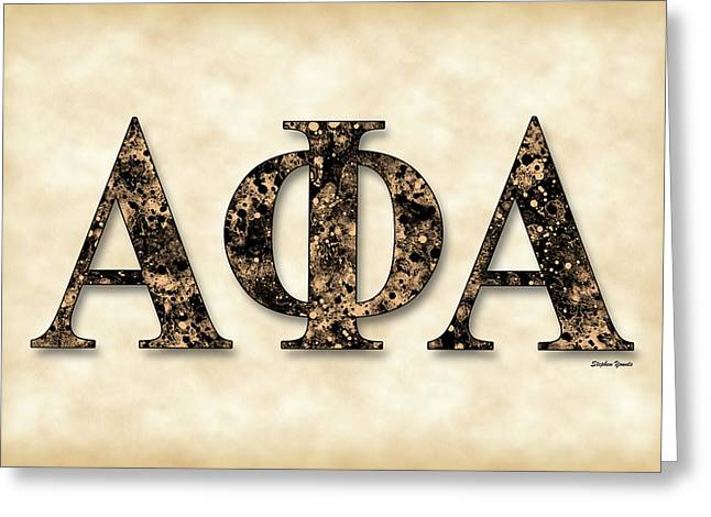 Phi Greeting Cards - Alpha Phi Alpha - Parchment Greeting Card by Stephen Younts