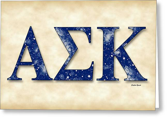 Alpha Sigma Kappa - Parchment Greeting Card by Stephen Younts