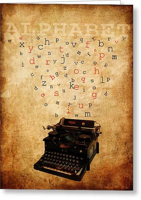 Typewriter Mixed Media Greeting Cards - Alphabet Greeting Card by Alla Albert