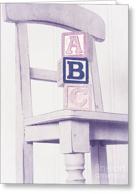 Wood Blocks Greeting Cards - Alphabet Blocks Chair Greeting Card by Edward Fielding