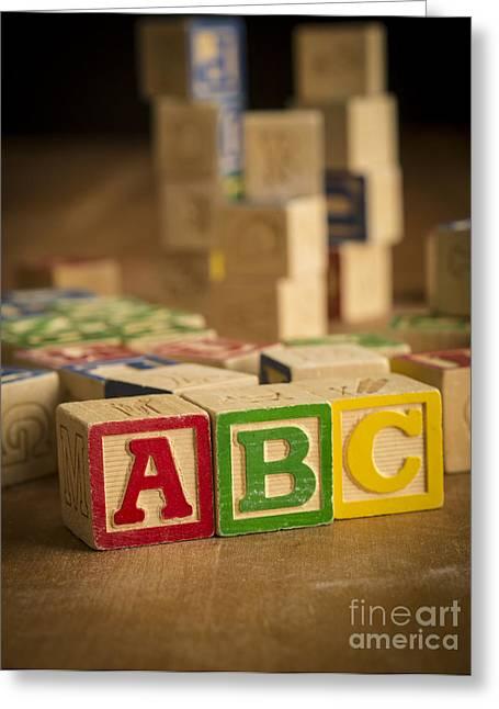 Abc Greeting Cards - Alphabet Blocks Greeting Card by Edward Fielding