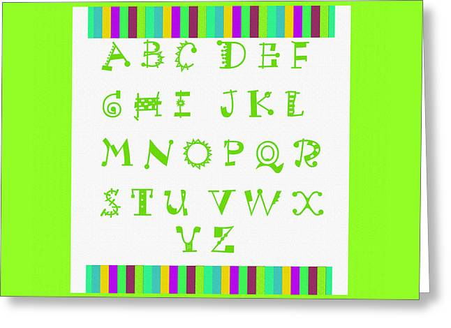 Lime Tapestries - Textiles Greeting Cards - Alphabet Green Greeting Card by Barbara Griffin