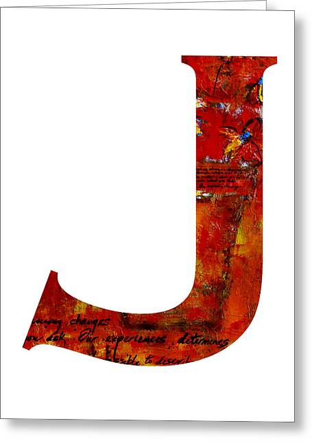 Letter J Greeting Cards - Alphabet Letter J Greeting Card by Patricia Awapara