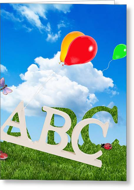 Alphabet Letters Greeting Card by Amanda Elwell