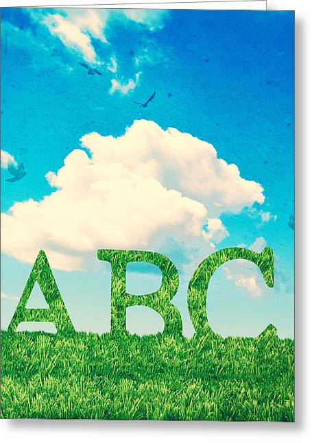 Preschool Greeting Cards - Alphabet Letters In Grass Greeting Card by Amanda And Christopher Elwell