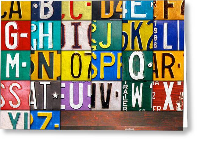 Classroom Greeting Cards - Alphabet License Plate Letters Artwork Greeting Card by Design Turnpike