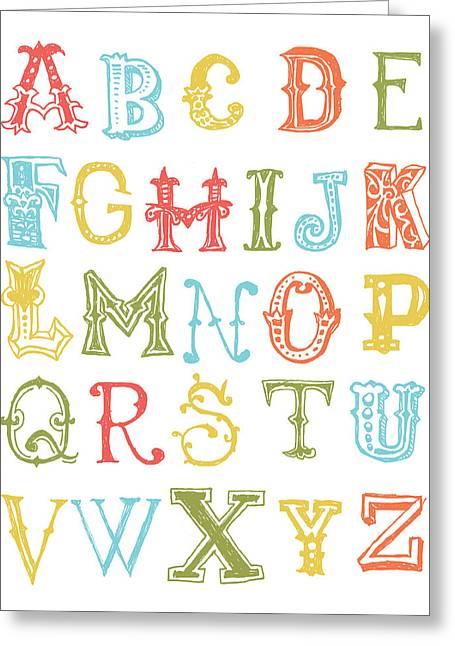 Bridal Shower Greeting Cards - Alphabet Poster Greeting Card by Jaime Friedman