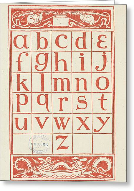 Alphabet Table For 'the Golden Primer' Greeting Card by British Library