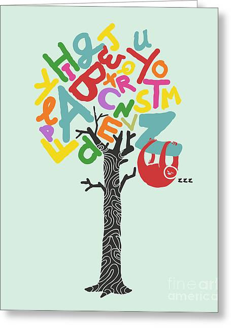 Children Greeting Cards - Alphabet tree Greeting Card by Budi Kwan