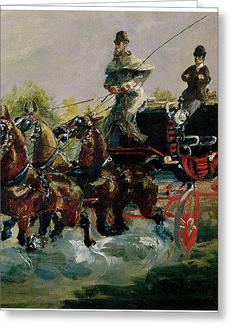 Horse And Buggy Paintings Greeting Cards - Alphonse de Toulouse-Lautrec Driving His Four-in-hand Greeting Card by Henri De Toulouse-Lautrec