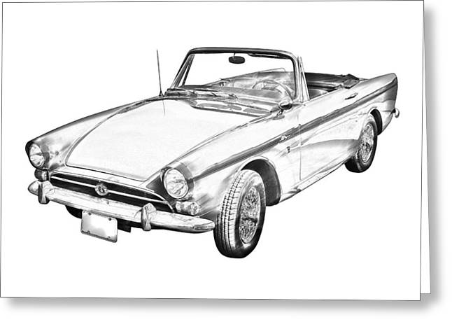 Spokes Greeting Cards - Alpine 5 Sports Car Illustration Greeting Card by Keith Webber Jr