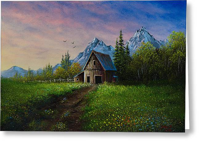 Bob Ross Paintings Greeting Cards - Alpine Barn Greeting Card by C Steele