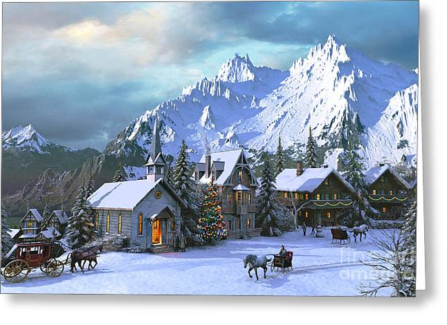 Horse And Carriage Greeting Cards - Alpine Christmas Greeting Card by Dominic Davison