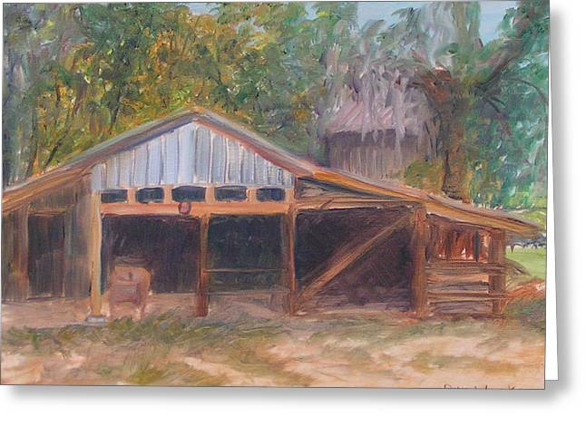 Packing Paintings Greeting Cards - Alpine Groves Fruit Packing Shed Greeting Card by Patty Weeks