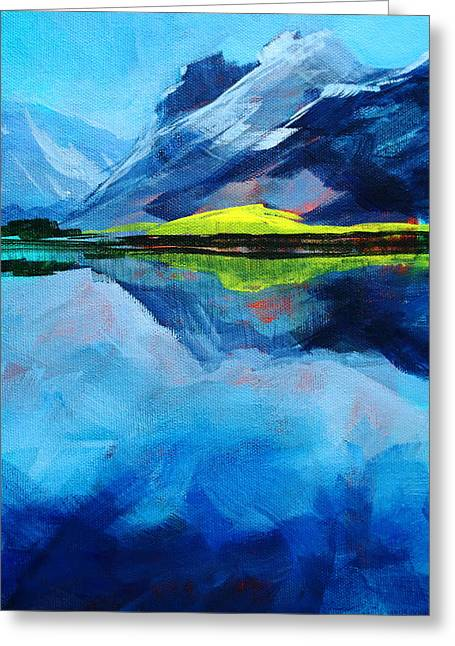 Snowy Evening Greeting Cards - Alpine Lake Mountain Landscape Painting Greeting Card by Nancy Merkle