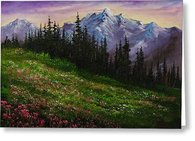 Bob Ross Paintings Greeting Cards - Alpine Meadow Greeting Card by C Steele