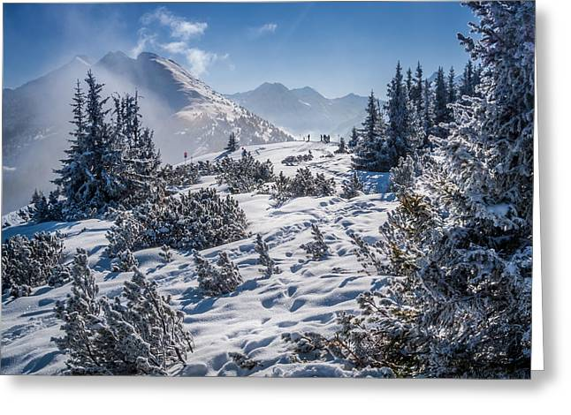 Alpine Skiing Prints Greeting Cards - Alpine Panorama Greeting Card by Mark Llewellyn