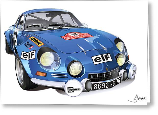 Automotive.digital Greeting Cards - Renault Alpine A110 Greeting Card by Alain Jamar