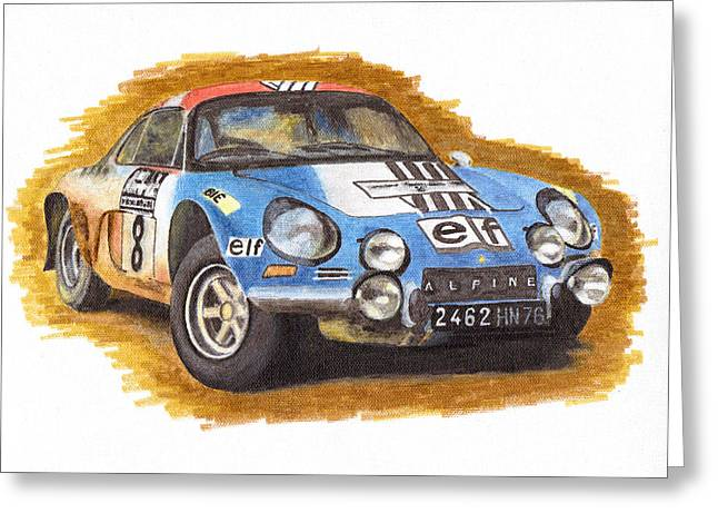 Rally Drawings Greeting Cards - Alpine Renault A110 Jean-Pierre Nicolas 1973 Greeting Card by Ugo Capeto