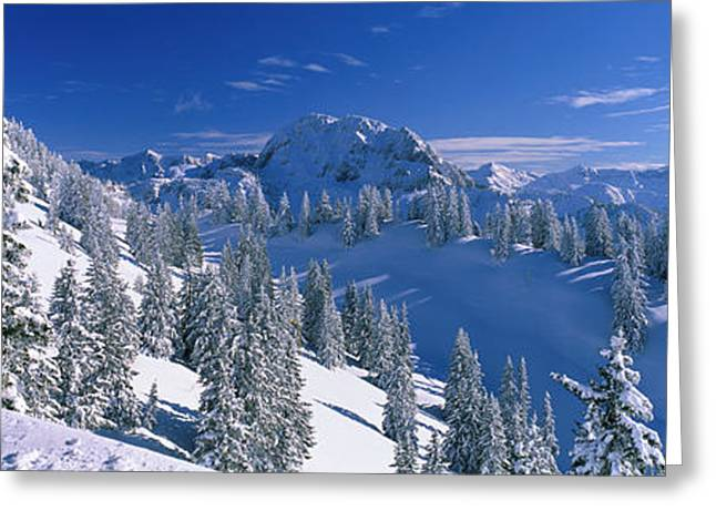 Snow Capped Greeting Cards - Alpine Scene, Bavaria, Germany Greeting Card by Panoramic Images