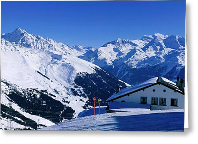 Snow Capped Greeting Cards - Alpine Scene In Winter, Switzerland Greeting Card by Panoramic Images